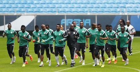 5c49a8363 Nigeria  39 s national soccer team players attend a training session at the  Arena