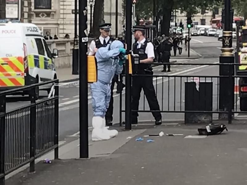 Police examine items on the ground in Whitehall: PA/@rosskempsell