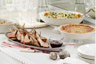 """<p>This sumptuous spread—rack of lamb, fennel salad, onion pie, and more—gives reason to rejoice.</p><p><strong>Main Course:</strong><br><a href=""""https://www.countryliving.com/food-drinks/recipes/a3524/cherry-port-glazed-rack-lamb-recipe-clv1210/"""" rel=""""nofollow noopener"""" target=""""_blank"""" data-ylk=""""slk:Cherry-and-Port-Glazed Rack of Lamb Recipe"""" class=""""link rapid-noclick-resp"""">Cherry-and-Port-Glazed Rack of Lamb Recipe</a></p><p><strong>Side Dishes:</strong><br><a href=""""https://www.countryliving.com/recipefinder/fennel-orange-olive-salad-recipe-clv1210"""" rel=""""nofollow noopener"""" target=""""_blank"""" data-ylk=""""slk:Fennel, Orange, and Olive Salad"""" class=""""link rapid-noclick-resp"""">Fennel, Orange, and Olive Salad</a></p><p><a href=""""https://www.countryliving.com/food-drinks/recipes/a3523/onion-pie-recipe-clv1210/"""" rel=""""nofollow noopener"""" target=""""_blank"""" data-ylk=""""slk:Onion Pie"""" class=""""link rapid-noclick-resp"""">Onion Pie</a></p><p><a href=""""https://www.countryliving.com/food-drinks/recipes/a3713/baked-potatoes-bacon-butter-recipe-clv0711/"""" rel=""""nofollow noopener"""" target=""""_blank"""" data-ylk=""""slk:Baked Potatoes with Bacon Butter"""" class=""""link rapid-noclick-resp"""">Baked Potatoes with Bacon Butter</a></p><p><strong>Dessert:</strong><br><a href=""""https://www.countryliving.com/food-drinks/recipes/a1115/pumpkin-cream-tarts-candied-cranberries-3222/"""" rel=""""nofollow noopener"""" target=""""_blank"""" data-ylk=""""slk:Pumpkin Cream Tarts with Candied Cranberries"""" class=""""link rapid-noclick-resp"""">Pumpkin Cream Tarts with Candied Cranberries</a></p><p><strong>Drink:</strong><br><a href=""""https://www.countryliving.com/food-drinks/recipes/a1231/pomegranate-apple-cocktails-3337/"""" rel=""""nofollow noopener"""" target=""""_blank"""" data-ylk=""""slk:Pomegranate-Apple Cocktails"""" class=""""link rapid-noclick-resp"""">Pomegranate-Apple Cocktails</a></p>"""