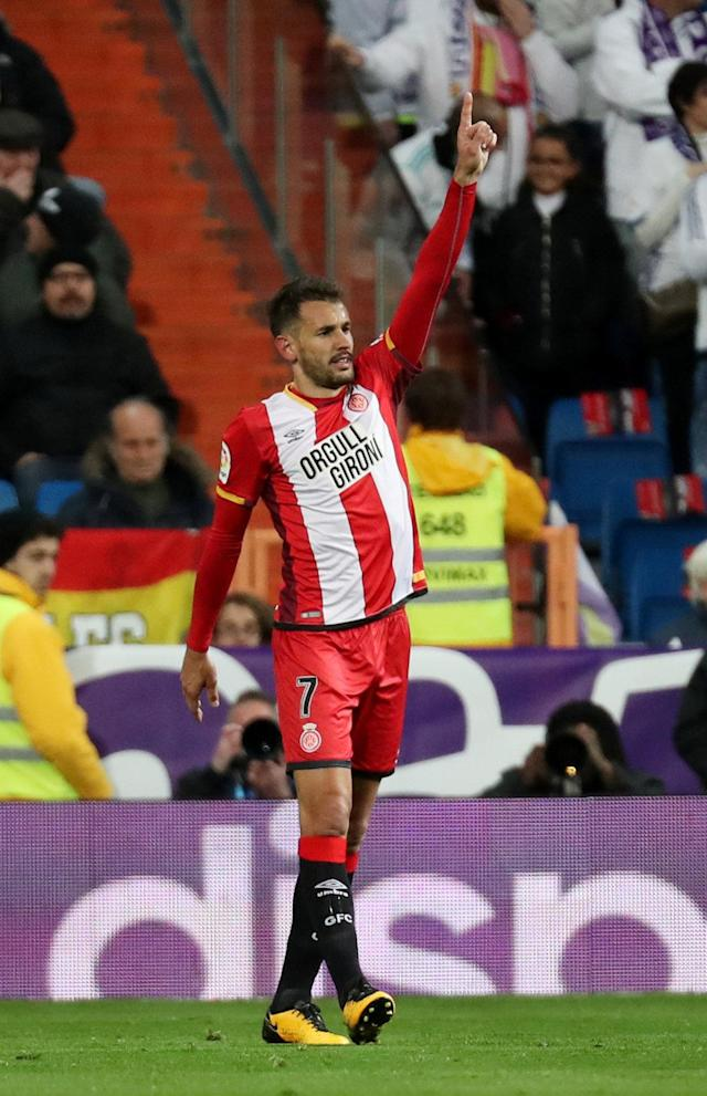 Soccer Football - La Liga Santander - Real Madrid vs Girona - Santiago Bernabeu, Madrid, Spain - March 18, 2018 Girona's Christian Stuani celebrates scoring their first goal REUTERS/Sergio Perez
