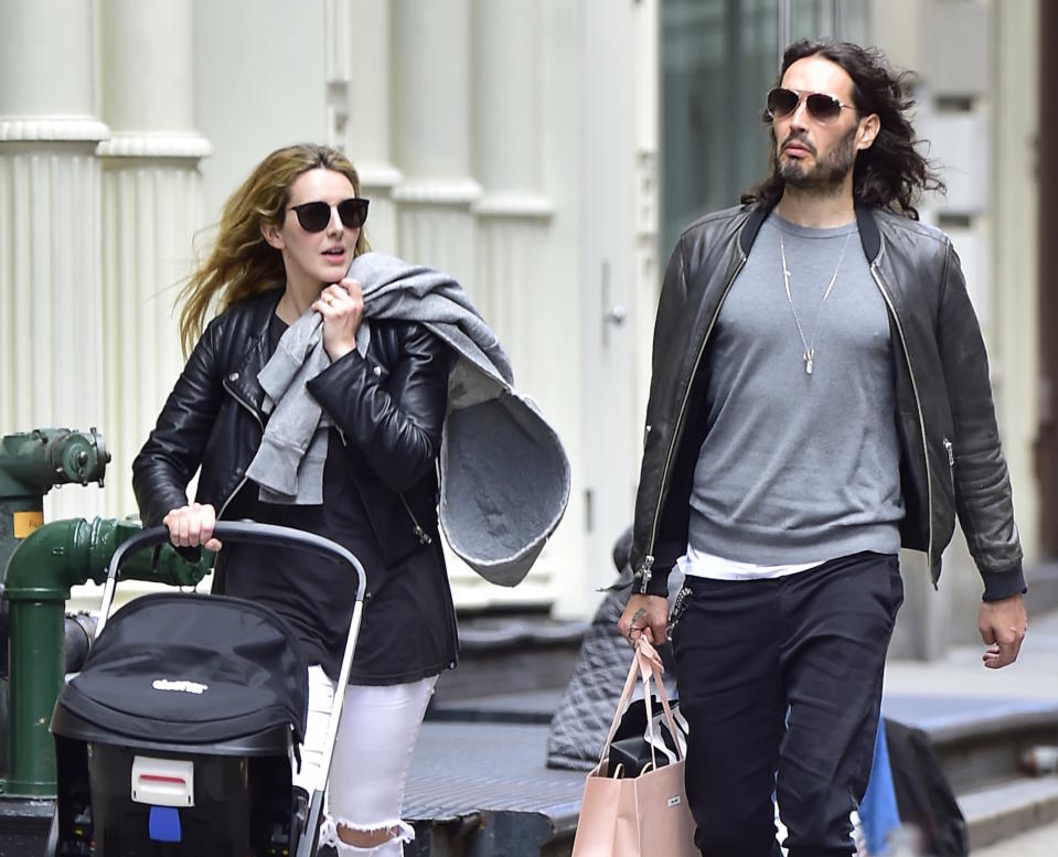 Brand and wife Laura Gallacher in 2017. Image via Getty Images.