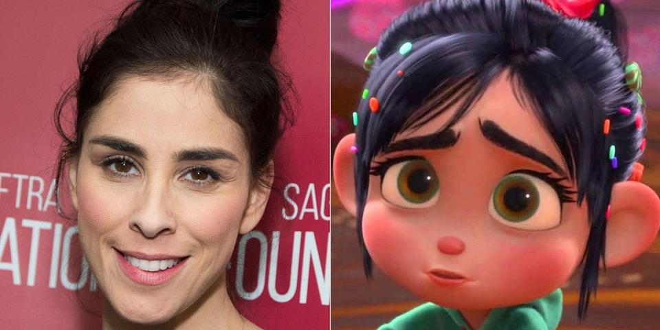"""<p>The comedian voiced the sweet outcast in the 2012 movie and reprised the role for the sequel. Silverman <a href=""""https://www.vanityfair.com/hollywood/2012/07/sarah-silverman-interview-wreck-it-ralph"""" rel=""""nofollow noopener"""" target=""""_blank"""" data-ylk=""""slk:told Vanity Fair"""" class=""""link rapid-noclick-resp"""">told <em>Vanity Fair</em></a> it wasn't as difficult as you might think for her to keep things PG. """"It's so funny because I'm not prudish, but I don't think of myself as dirty,"""" she said. """"So many times people come up to me and tell me disgusting things and I know it's because they think I'm like that, which is horrifying to me.""""</p>"""