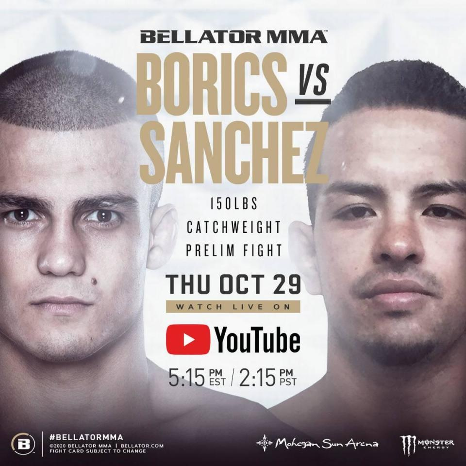 """Adam """"The Kid"""" Borics (15-1) of Sanford MMA fights Erick Sanchez (9-5) in a catchweight bout during Bellator 250 on Thursday, Oct. 30 live on CBS Sports Network from the Mohegan Sun Arena in Uncasville, Connecticut."""