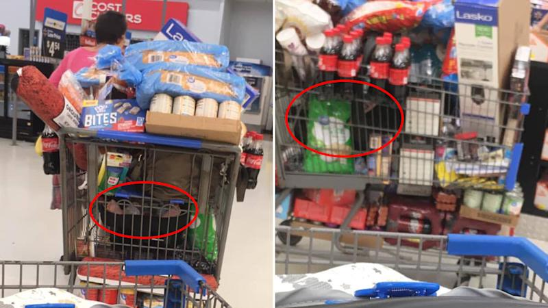 A Kentucky woman pulls a shopping trolley full of groceries on top of what appears to be a baby at a Walmart.