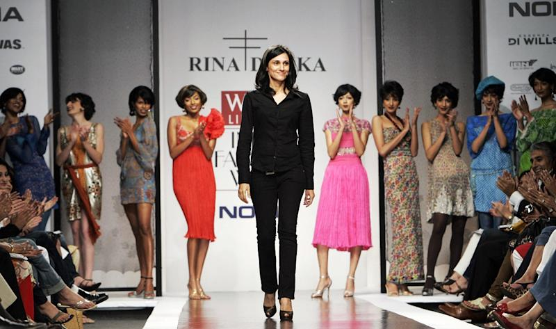 Rina Dhaka at her show at the Wills India Fashion Week in New Delhi, 23 March 2007. (Photo by MANAN VATSYAYANA/AFP via Getty Images)