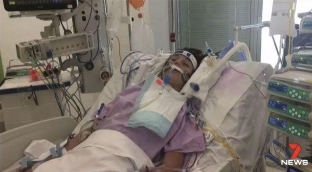She was placed in a coma for two weeks. Source: 7 News
