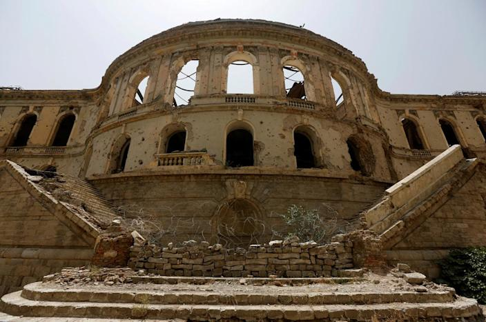<p>The ruins of Darul Aman Palace are seen in Kabul, Afghanistan, June 2, 2016. (Omar Sobhani/Reuters) </p>
