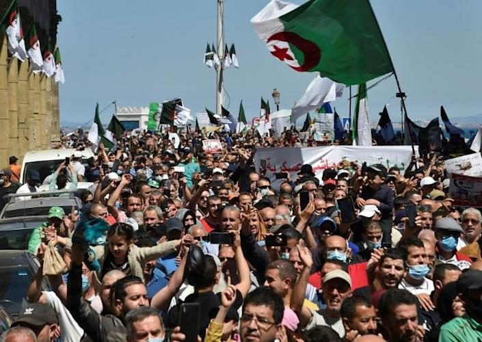 The protest movement that forced the resignation of veteran president Abdelaziz Bouteflika in 2019 still holds demonstrations like this one in Algiers but the wind has been taken out of its sails by the Covid pandemic and growing repression