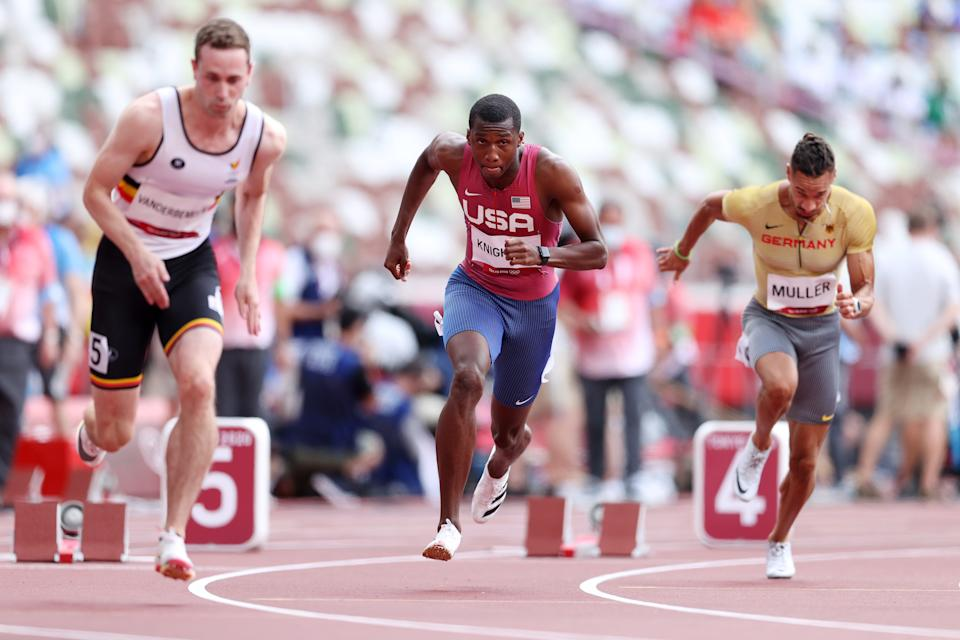 Seen here, Erriyon Knighton in his 200m heat at the Olympic Games.