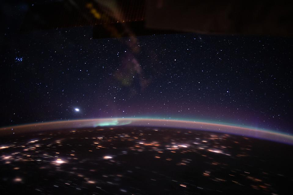Green auroras clash with orange airglow in this stunning view of Earth from the International Space Station. An Expedition 62 crewmember captured this photo from 263 miles (423 kilometers) above the Earth as the space station passed over Kazakhstan on March 17, 2020.