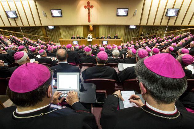 Pope Francis opens the Italian Episcopal Conference's meeting. (Photo by Alessandra Benedetti/Corbis via Getty Images) (Photo: Alessandra Benedetti - Corbis via Getty Images)