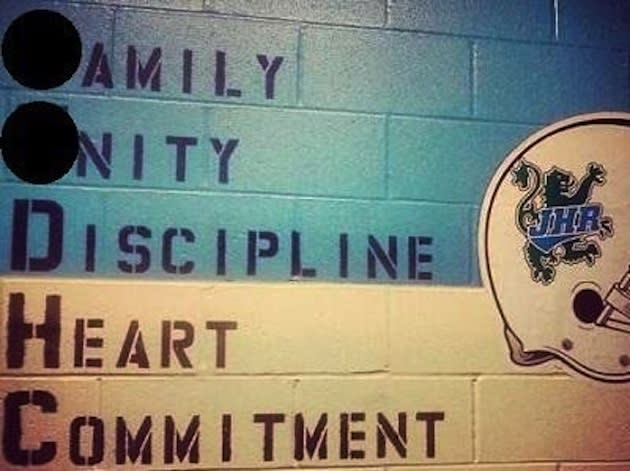 The wall outside the J.H. Rose weight room — WCTI photo