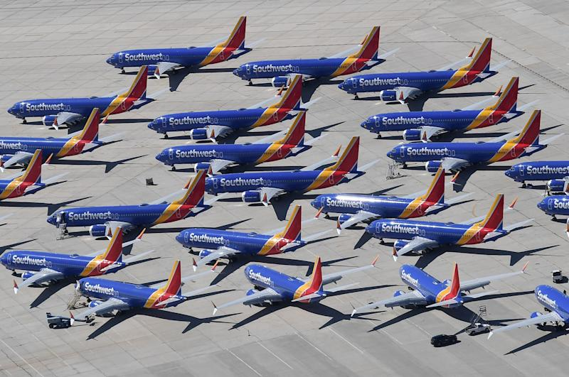 Southwest Airlines Boeing 737 MAX aircraft are parked on the tarmac after being grounded, at the Southern California Logistics Airport in Victorville, California on March 28, 2019. (Photo: Mark RALSTON / AFP) (Photo credit should read MARK RALSTON/AFP/Getty Images)