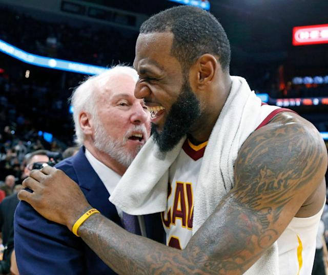 LeBron James thinks Gregg Popovich is hilarious. (Getty Images)