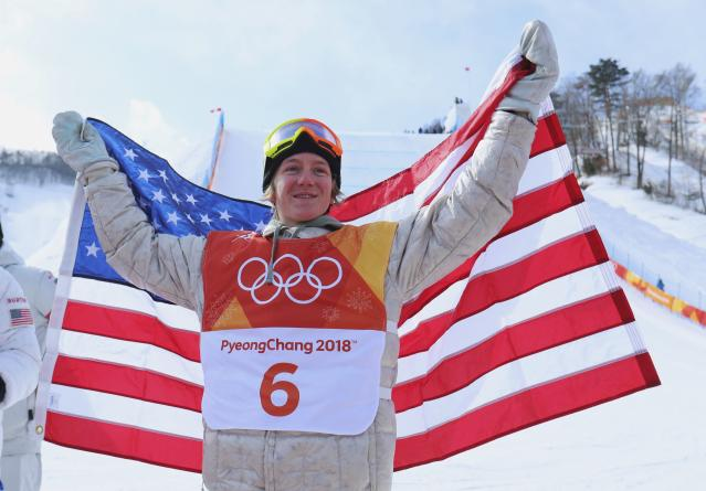 <p>Redmond Gerard of the U.S. celebrates winning the gold medal in the men's slopestyle snowboarding event. Gerard became the youngest American to win an Olympic medal in a snowboarding event at 17 years old. </p>
