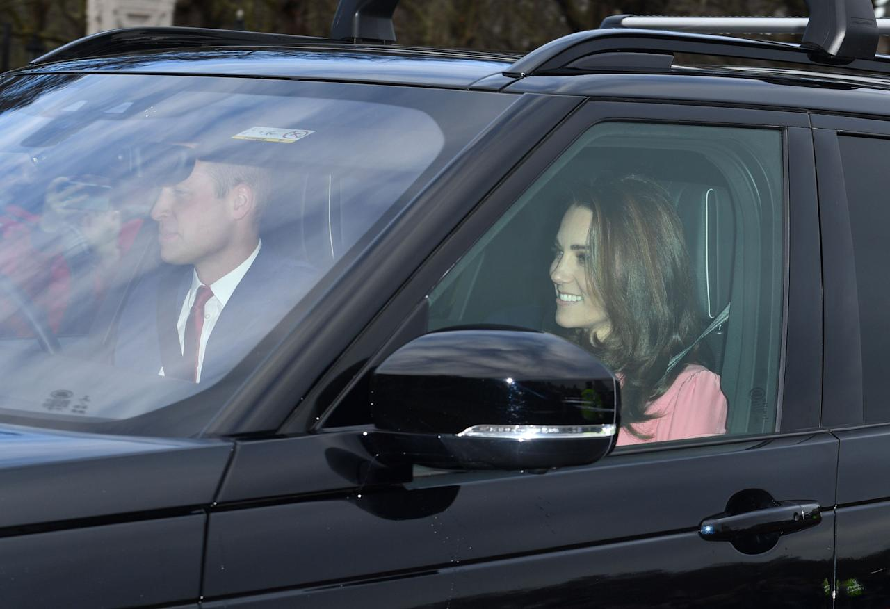 <p>The Duchess of Cambridge wore a pastel pink outfit for the queen's Christmas lunch at Buckingham Palace. (Photo: Rex) </p>