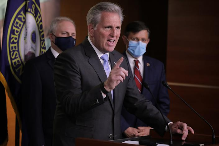House Minority Leader Kevin McCarthy talks to reporters following House Republican conference leadership elections on Tuesday. (Chip Somodevilla/Getty Images)