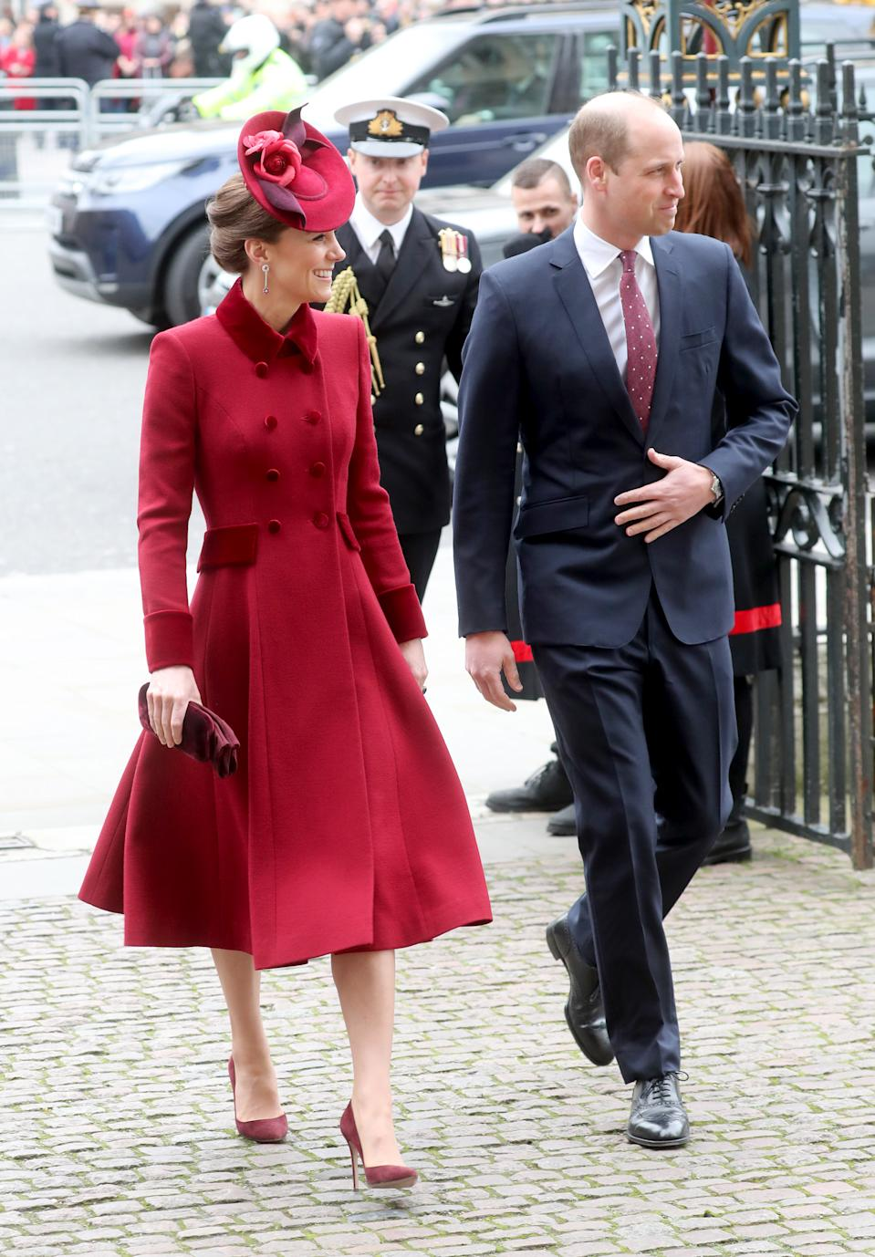 LONDON, ENGLAND - MARCH 09: Catherine, Duchess of Cambridge and Prince William, Duke of Cambridge attend the Commonwealth Day Service 2020 at Westminster Abbey on March 09, 2020 in London, England. The Commonwealth represents 2.4 billion people and 54 countries, working in collaboration towards shared economic, environmental, social and democratic goals. (Photo by Chris Jackson/Getty Images)