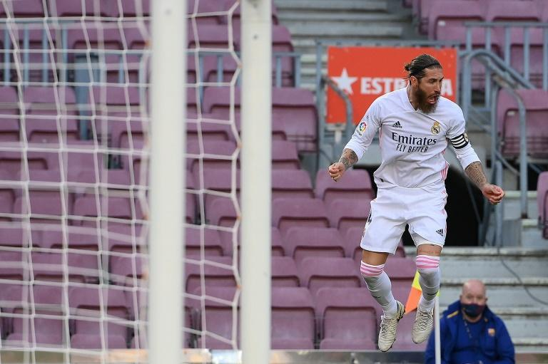 Sergio Ramos celebrates scoring a penalty in Real Madrid's win over Barcelona on Saturday.