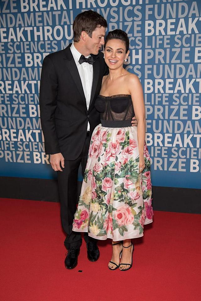 <p>The gorgeous couple smiled and laughed as they walked the red carpet Sunday at the 2018 Breakthrough Prize at NASA Ames Research Center in Mountain View, Calif. The<em> Ranch</em> star took a minute to whisper something into his wife's ear as they headed into the event celebrating the best scientific work of the year. (Photo: Miikka Skaffari/Getty Images) </p>