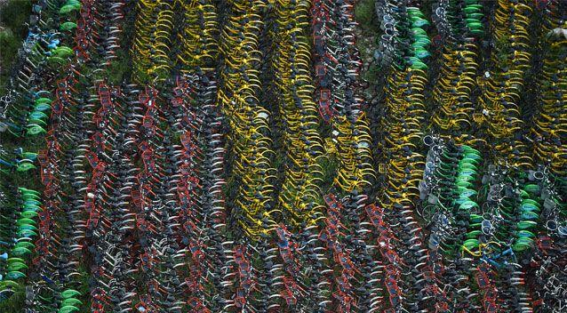 This Shanghai site has thousands of bikes squeezed in as the government cracks down on the scheme. Source: Getty