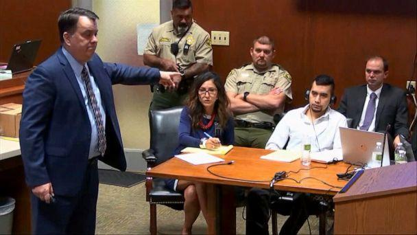 PHOTO: Prosecutor Scott Brown points to defendant Cristhian Bahena Rivera during closing arguments in Rivera's murder trial of University of Iowa student Mollie Tibbetts, May 27, 2021, in Davenport, Iowa. (Pool via WQAD)