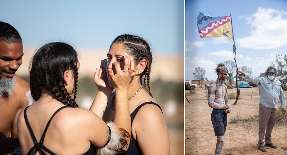 Left - Woman having their cultural paint applied to their faces at the camp. Right - an Indigenous man holding a cultural flag.