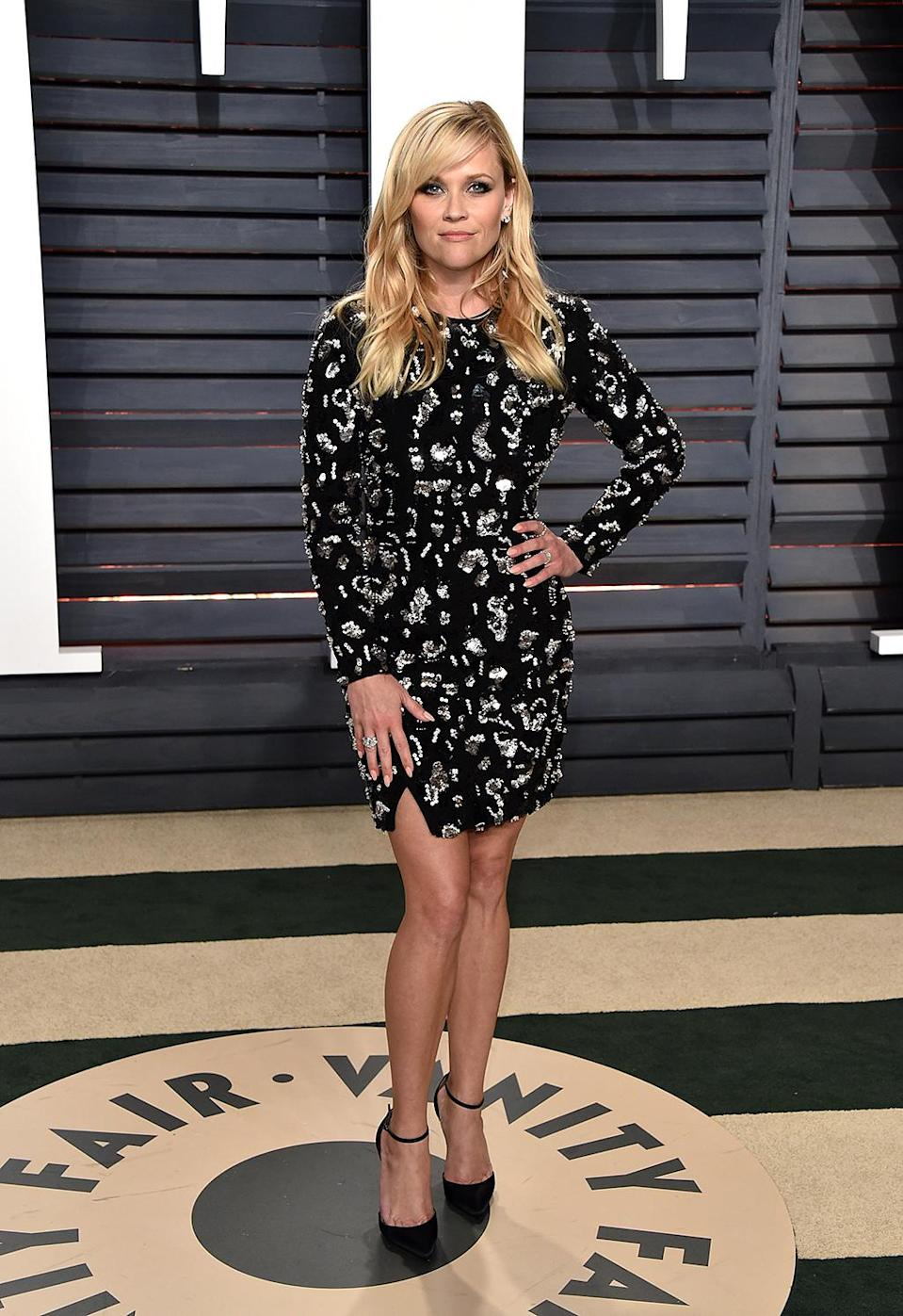 <p>Reese Witherspoon attends the 2017 Vanity Fair Oscar Party hosted by Graydon Carter at Wallis Annenberg Center for the Performing Arts on February 26, 2017 in Beverly Hills, California. (Photo by John Shearer/Getty Images) </p>