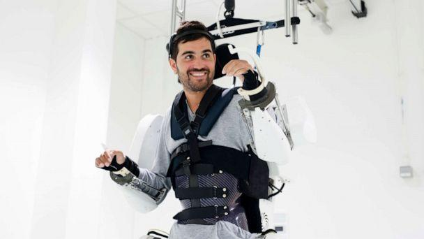 PHOTO: A Thibault, a paralyzed man was able to move all four of his paralyzed limbs with a mind-controlled exoskeleton suit because of two implants placed on the surface of his brain in Paris, Oct. 4, 2019. (Juliette Treillet/Fonds De Dotat/EPA via Shutterstock)