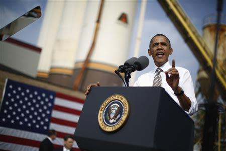 U.S. President Obama delivers remarks on government funding, in Maryland