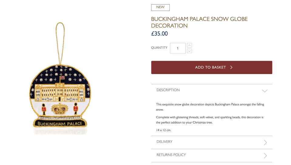 The snow globe decoration, new this year, is £35. (Buckingham Palace)