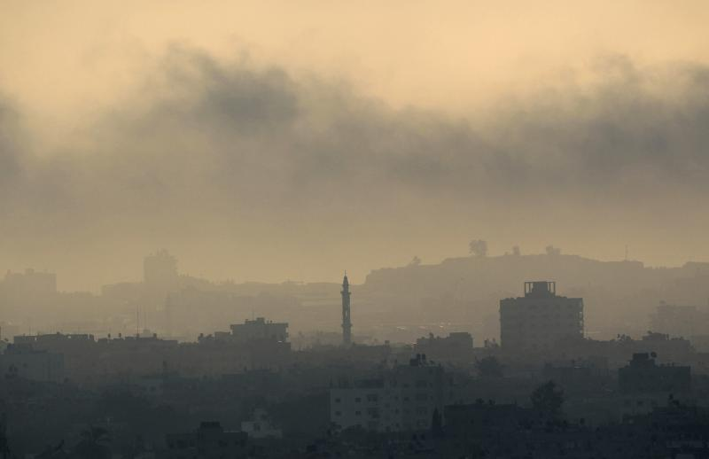 Smoke rises during an Israeli offensive in Gaza