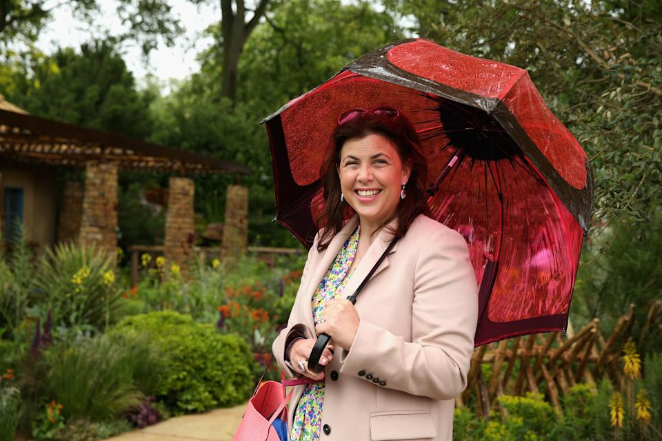 LONDON, ENGLAND - MAY 18:  Kirstie Allsopp visits the Sentebale 'Hope In Vunerability' Garden during the annual Chelsea Flower show at Royal Hospital Chelsea on May 18, 2015 in London, England.The Sentebale - Hope In Vulnerability Garden at RHS Chelsea Flower Show was designed by Matt Keightley and is inspired by the Mamohato Children's Centre in Lesotho. The Children's Centre is due to open later this year in Lesotho and will provide support to children living wth HIV  (Photo by Chris Jackson/Getty Images for Sentebale)