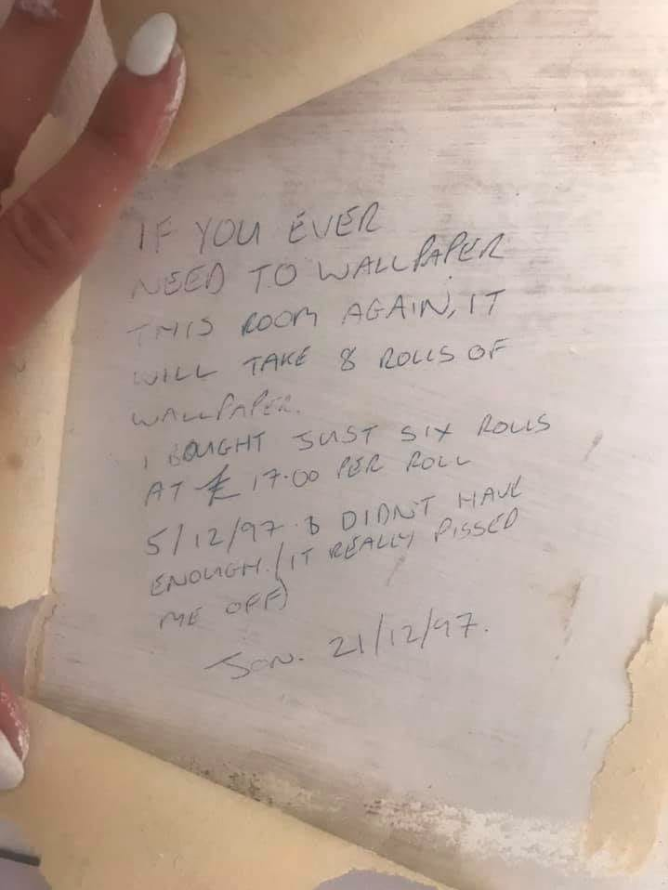 Woman's note from 1997 about wallpapering