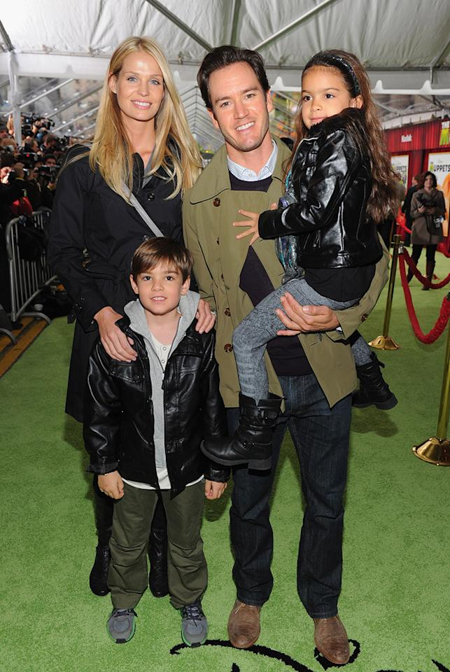 """<a href=""""http://movies.yahoo.com/movie/contributor/1800021169"""">Mark Paul Gosselaar</a> and family at the Los Angeles premiere of <a href=""""http://movies.yahoo.com/movie/1810188975/info"""">The Muppets</a> on November 12, 2011."""