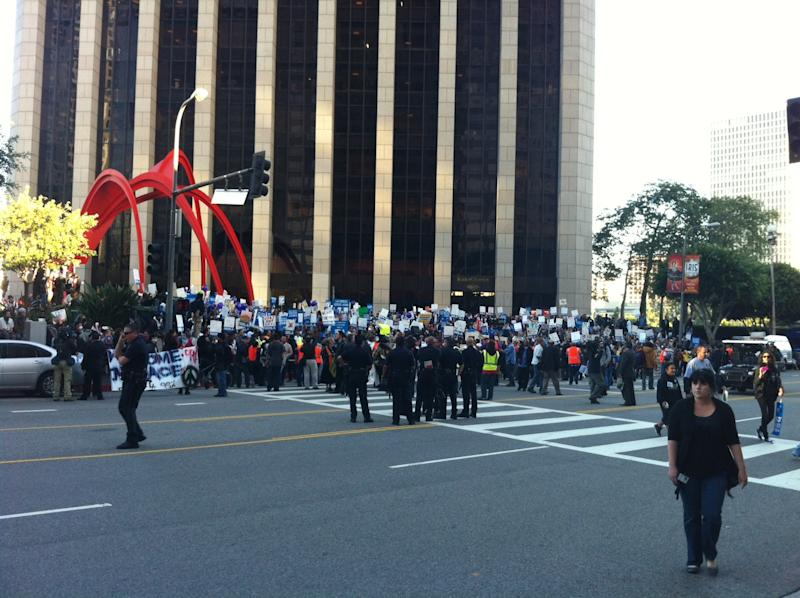 Protesters march in downtown Los Angeles on Thursday, November 17th 2011