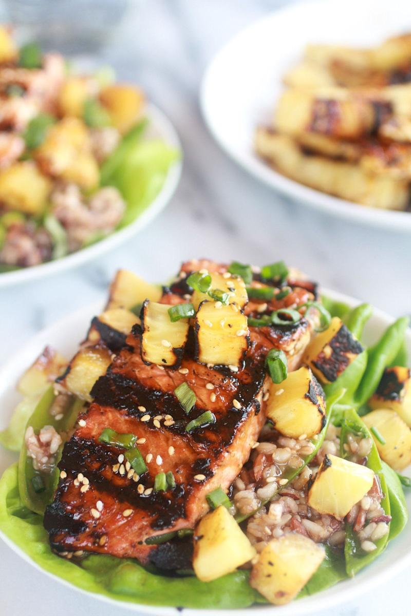"""<strong>Get the <a href=""""http://www.halfbakedharvest.com/asian-grilled-salmon-pineapple-and-rice-lettuce-wraps/"""" target=""""_blank"""">Asian Grilled Salmon Pineapple and Rice Lettuce Wraps recipe </a>from Half Baked Harvest</strong>"""