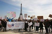 <p>The march in Paris passed the Eiffel Tower. (Photo: Getty Images) </p>