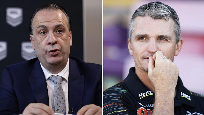 NRL chairman Peter V'Landys (pictured left) during a media conference and Penrith coach Ivan Cleary (pictured right) during a game.