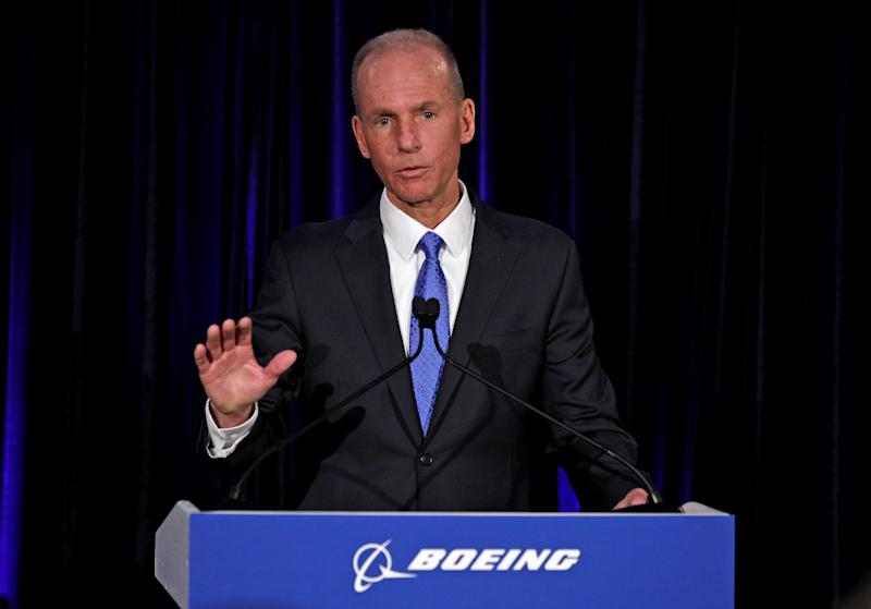 Boeing Co Chief Executive Dennis Muilenburg speaks during a news conference at the annual shareholder meeting in Chicago, Illinois, U.S., April 29, 2019. Jim Young/Pool via REUTERS
