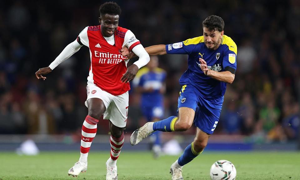 Bukayo Saka (left) had an impact for Arsenal when he came off the bench.
