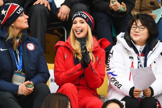<p>Ivanka Trump (C),wife of Korean President Moon Jae-in, Kim Jung-sook (R)and US IOC member Angela Ruggiero (L) watch the final of the men's snowboard big air event at the Alpensia Ski Jumping Centre during the Pyeongchang 2018 Winter Olympic Games on February 24, 2018 in Pyeongchang. / AFP PHOTO / FRANCK FIFE (Photo credit should read FRANCK FIFE/AFP/Getty Images) </p>