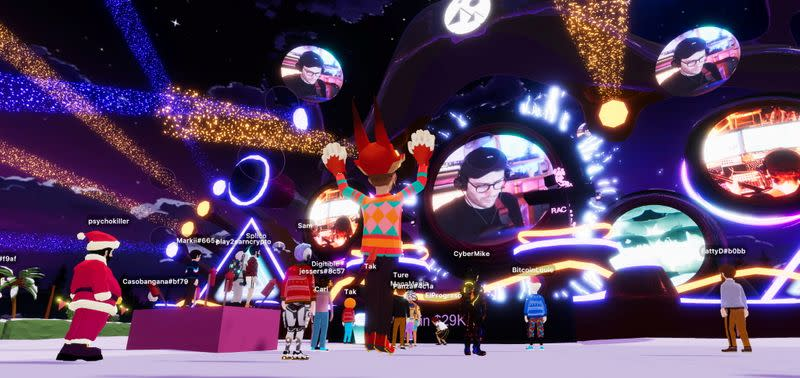 The DJ and producer RAC performs live at a New Year's Eve party within the virtual world Decentraland