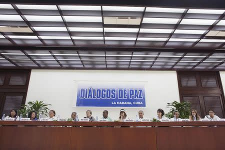 Victims of the Colombian armed conflict attend a conference in Havana