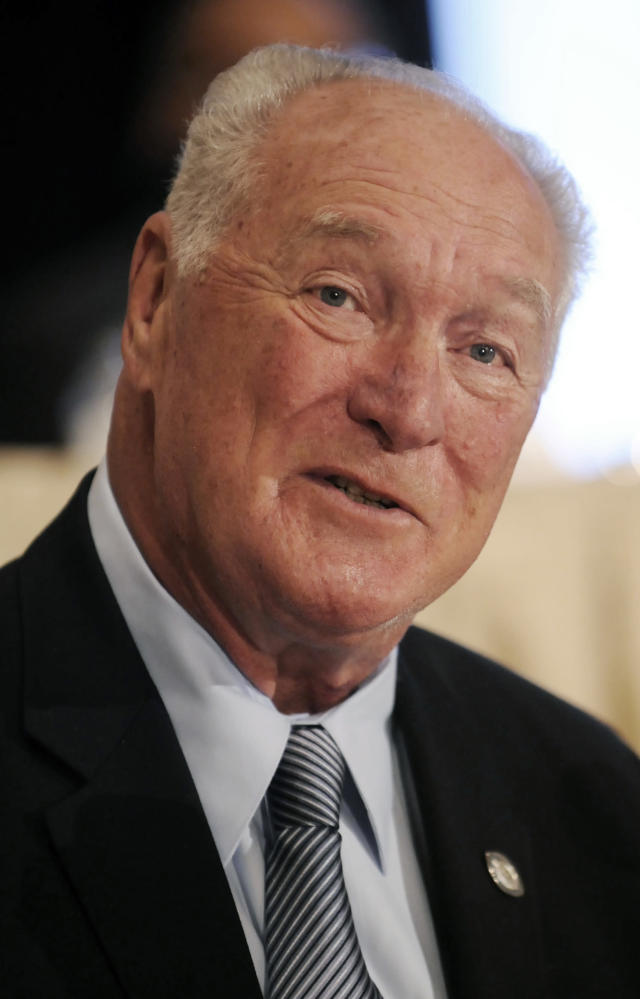 File-This Dec. 9, 2008, file photo shows former LSU football player Billy Cannon looking on during at the National Football Foundation Hall of Fame news conference, in New York. Cannon, the gifted running back who won the Heisman Trophy for LSU in 1959 with a memorable Halloween night punt return touchdown against Mississippi, died Sunday, May 20, 2018. He was 80. LSU said Cannon, the schools only Heisman winner, died at his home in St. Francisville, La. The cause of death was not immediately known. (AP Photo/Richard Drew, File)