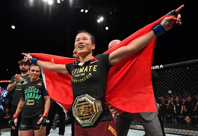 Zhang Weili celebrates after her knockout victory over Jessica Andrade in their UFC strawweight championship bout at Shenzhen Universiade Sports Centre on Aug. 31, 2019 in Shenzhen, China. (Brandon Magnus/Zuffa LLC)