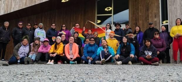 The northern Labrador community of Nain marked its first-ever Pride event on July 7, attracting about 40 participants. (Submitted by Jenny Oliver - image credit)