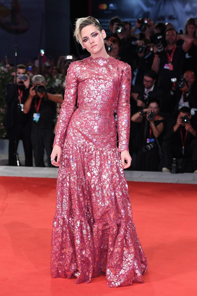 """Kristen Stewart walks the red carpet ahead of the """"Seberg"""" screening during the 76th Venice Film Festival at Sala Grande on August 30, 2019 in Venice, Italy. Photo courtesy of Getty Images."""