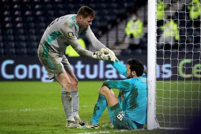 Celtic goalkeeper Conor Hazard (left) was his side's hero in the penalty shoot-out