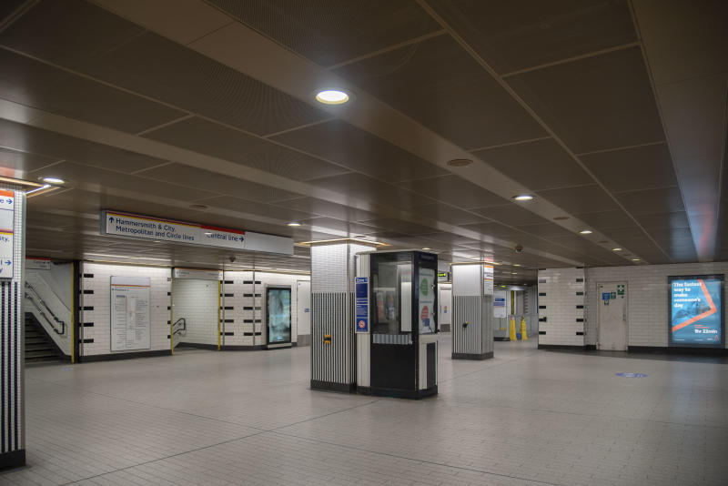 General view of Liverpool Street tube station in London,UK on April 22, 2020. A virtual parliament has returned with most MP's working from home, the government has promised to increase testing to 100,000 a day by the end of the April, an increase of 82,000, as critisism of the governments handling of the pandemic mounts. (Photo by Claire Doherty/Sipa USA)